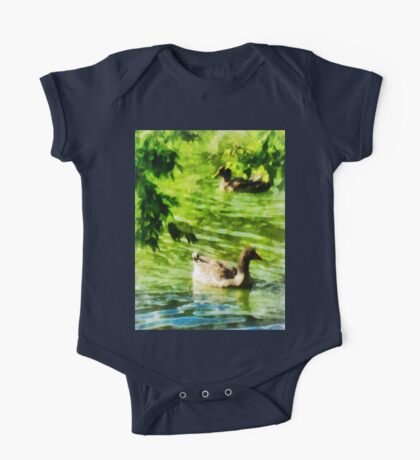 Ducks on a Tranquil Pond One Piece - Short Sleeve
