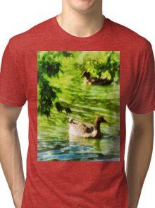Ducks on a Tranquil Pond Tri-blend T-Shirt