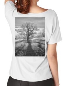 Lone tree over the East Somerset Railway Women's Relaxed Fit T-Shirt