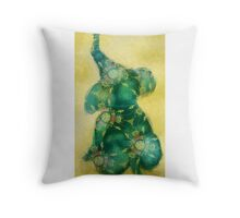 Little Elephant  - turquoise and gold Throw Pillow
