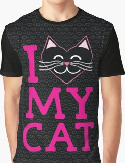 I love my cat! (pink letters) Graphic T-Shirt