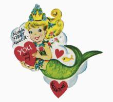 Vintage Valentine Mermaid Kids Tee