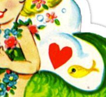 Vintage Valentine Mermaid Sticker