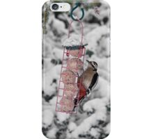 Great Spotted Woodpecker in snow iPhone Case/Skin