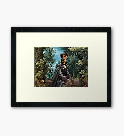 Airedale Terrier Art Canvas Print - Forest landscape with deer hunting and Noble Lady Framed Print