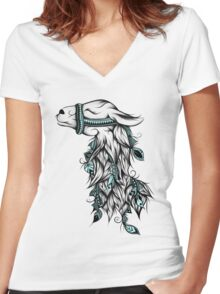Poetic Llama  Women's Fitted V-Neck T-Shirt