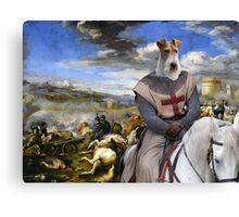 Wire Fox Terrier Art - Scene with infantry Cavalry Canvas Print