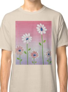 Daisies reaching for the sun original acrylic painting Classic T-Shirt