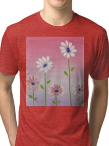 Daisies reaching for the sun original acrylic painting Tri-blend T-Shirt