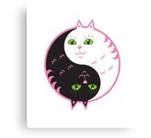 Cute cats yin yang  Canvas Print