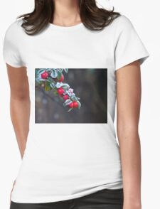 Red Berries With Frost Womens Fitted T-Shirt