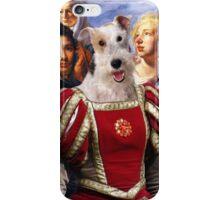 Wire Fox Terrier Art - Making of flowercrowns iPhone Case/Skin
