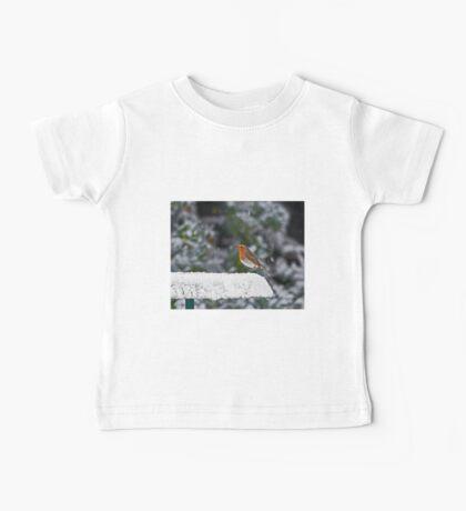 Robin on Snowy Feeder Baby Tee
