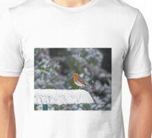 Robin on Snowy Feeder Unisex T-Shirt