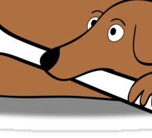Lying dog with bone Sticker