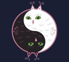 Cute owls yin yang  One Piece - Short Sleeve