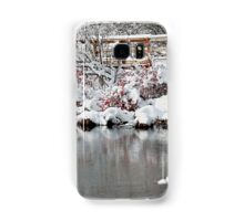 The pond, the snow, and the footbridge Samsung Galaxy Case/Skin