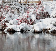 The pond, the snow, and the footbridge Sticker