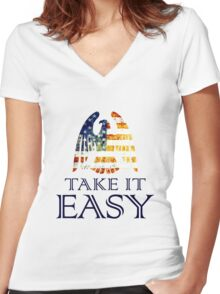 Take It Easy ~ Eagles Women's Fitted V-Neck T-Shirt