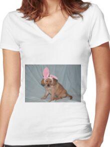 Cabela- Bunny Ears REALLY?? - Little Sapling Gang Women's Fitted V-Neck T-Shirt