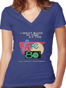 I Went Back In Time at the Cafe 80s - Back to the Future Women's Fitted V-Neck T-Shirt