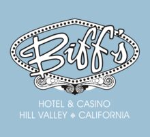 Biff's Hotel and Casino - Back to the Future (White and Black) Kids Tee