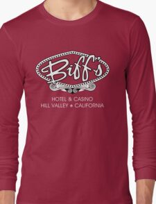 Biff's Hotel and Casino - Back to the Future (White and Black) Long Sleeve T-Shirt