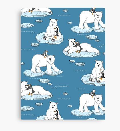 Polar Bear Loves Penguin Canvas Print