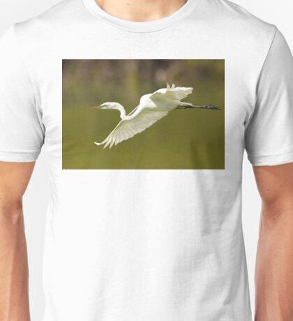 Great White Egret in Flight Unisex T-Shirt