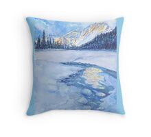 Winter mountain landscape. watercolor Throw Pillow