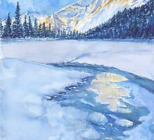 Winter mountain landscape. watercolor by torishaa