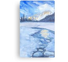 Winter mountain landscape. watercolor Metal Print