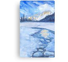 Winter mountain landscape. watercolor Canvas Print