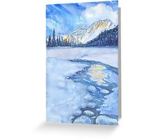 Winter mountain landscape. watercolor Greeting Card