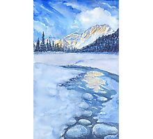 Winter mountain landscape. watercolor Photographic Print