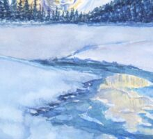 Winter mountain landscape. watercolor Sticker