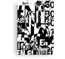 Black and white collage texture paper Canvas Print