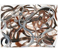 Brown Intertwining Flowers Poster