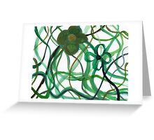 Green Intertwining Flowers Painting Greeting Card