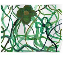 Green Intertwining Flowers Painting Poster