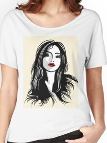 glamour girl with black hairs Women's Relaxed Fit T-Shirt