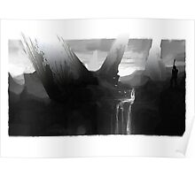 Waterfall Black and White Guard Poster