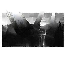 Waterfall Black and White Guard Photographic Print