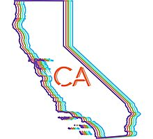 Neon California CA initials Photographic Print