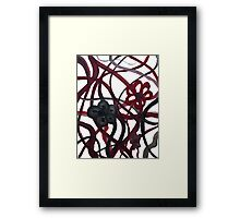 Red Black Intertwining Flowers Framed Print