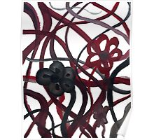Red Black Intertwining Flowers Poster