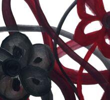 Red Black Intertwining Flowers Sticker