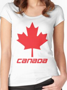 Maple Leaf - Red Women's Fitted Scoop T-Shirt