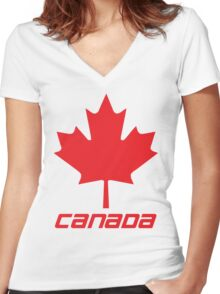 Maple Leaf - Red Women's Fitted V-Neck T-Shirt