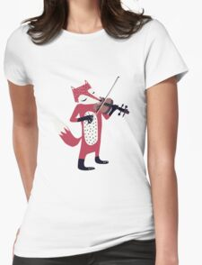 Red foxy violinist Womens Fitted T-Shirt
